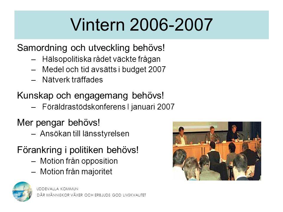 UDDEVALLA KOMMUN DÄR MÄNNISKOR VÄXER OCH ERBJUDS GOD LIVSKVALITET Vintern 2006-2007 Samordning och utveckling behövs.