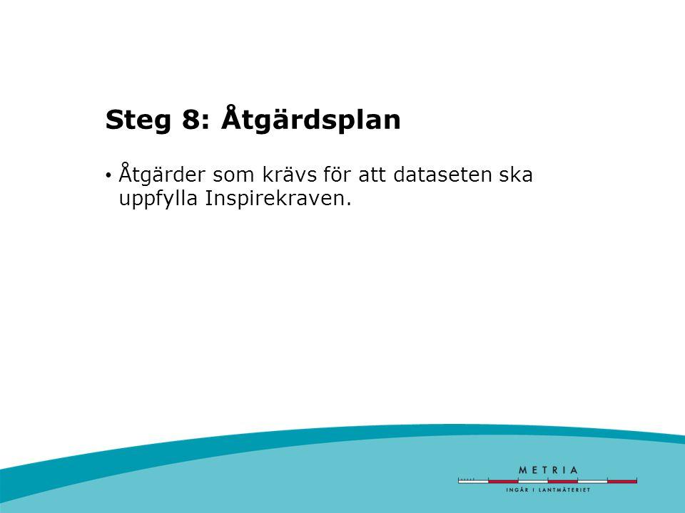 Steg 8: Åtgärdsplan Åtgärder som krävs för att dataseten ska uppfylla Inspirekraven.