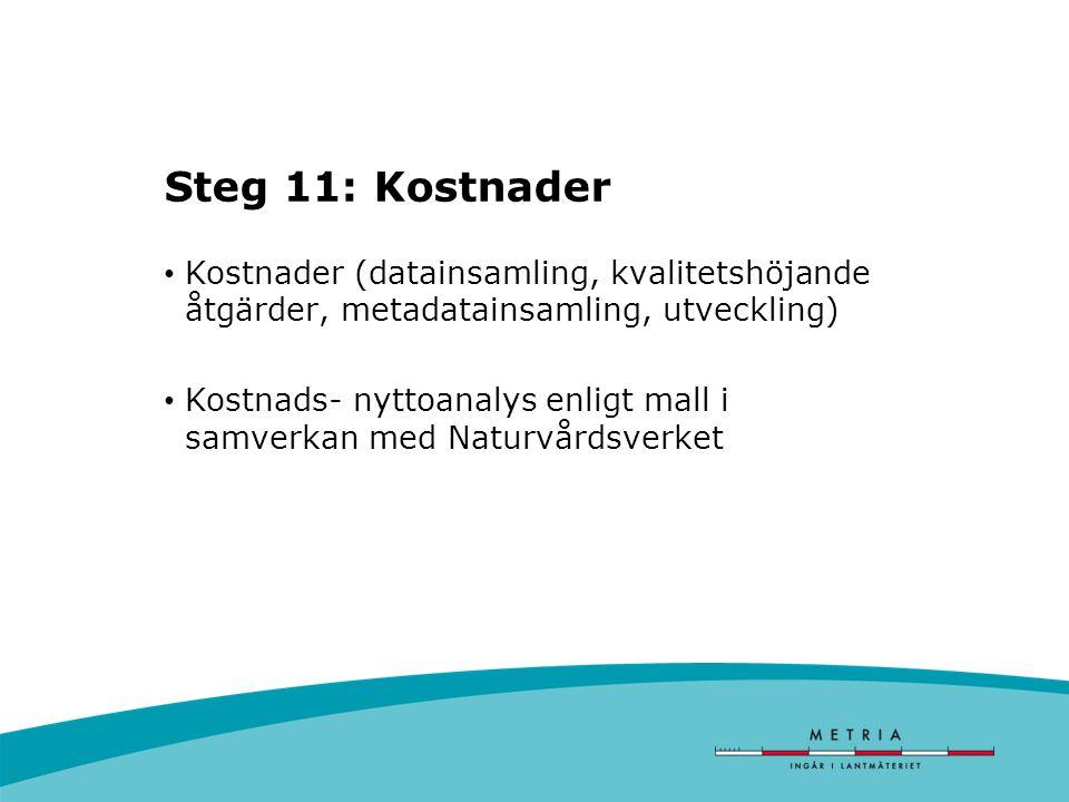 Steg 11: Kostnader Kostnader (datainsamling, kvalitetshöjande åtgärder, metadatainsamling, utveckling) Kostnads- nyttoanalys enligt mall i samverkan med Naturvårdsverket