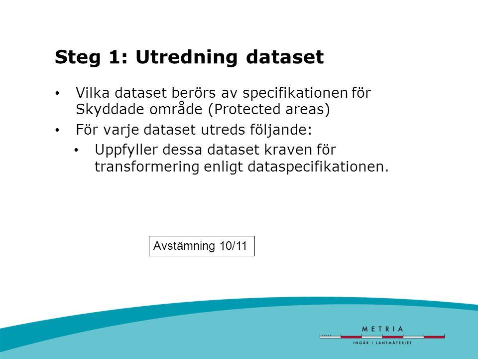 Steg 1: Utredning dataset Vilka dataset berörs av specifikationen för Skyddade område (Protected areas) För varje dataset utreds följande: Uppfyller dessa dataset kraven för transformering enligt dataspecifikationen.