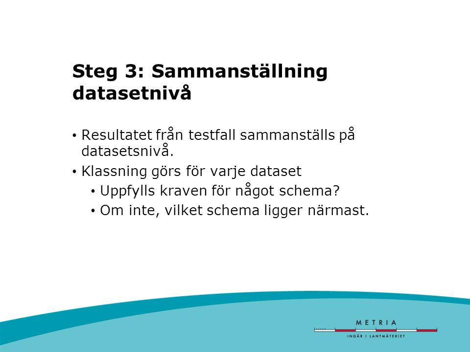 Steg 3: Sammanställning datasetnivå Resultatet från testfall sammanställs på datasetsnivå.