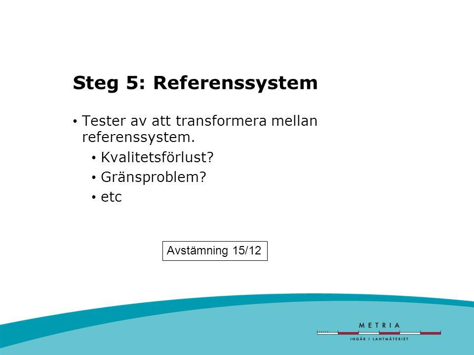 Steg 5: Referenssystem Tester av att transformera mellan referenssystem.