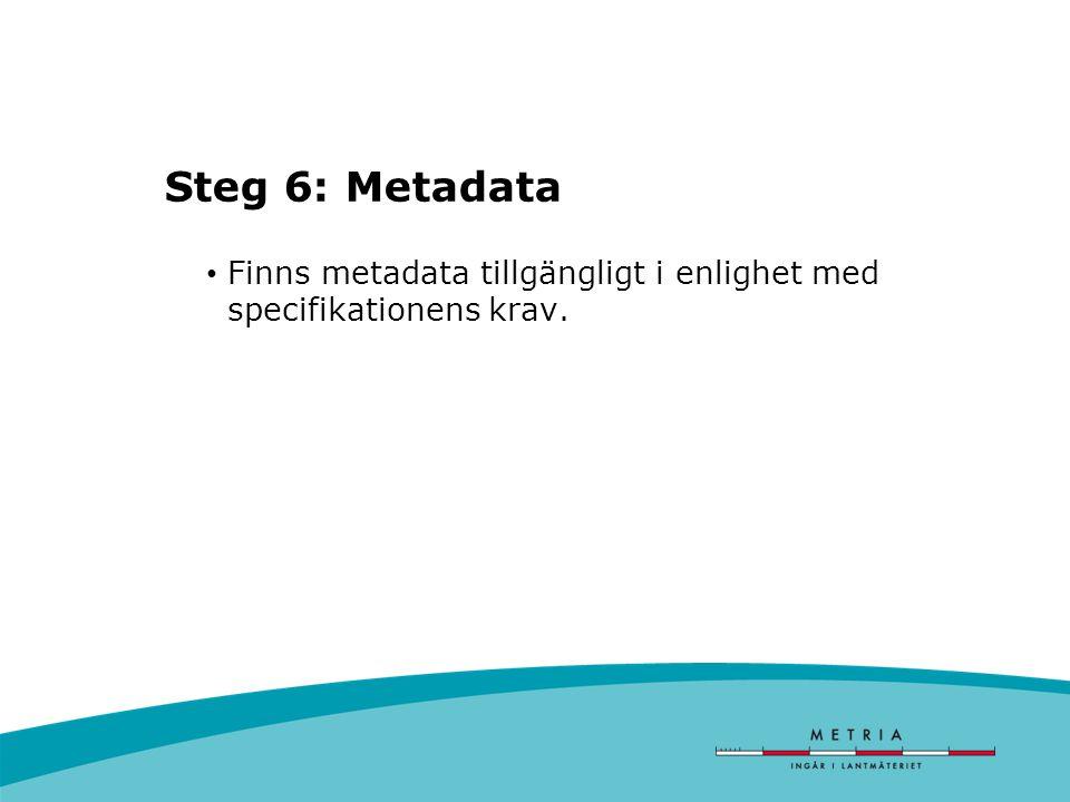 Steg 6: Metadata Finns metadata tillgängligt i enlighet med specifikationens krav.