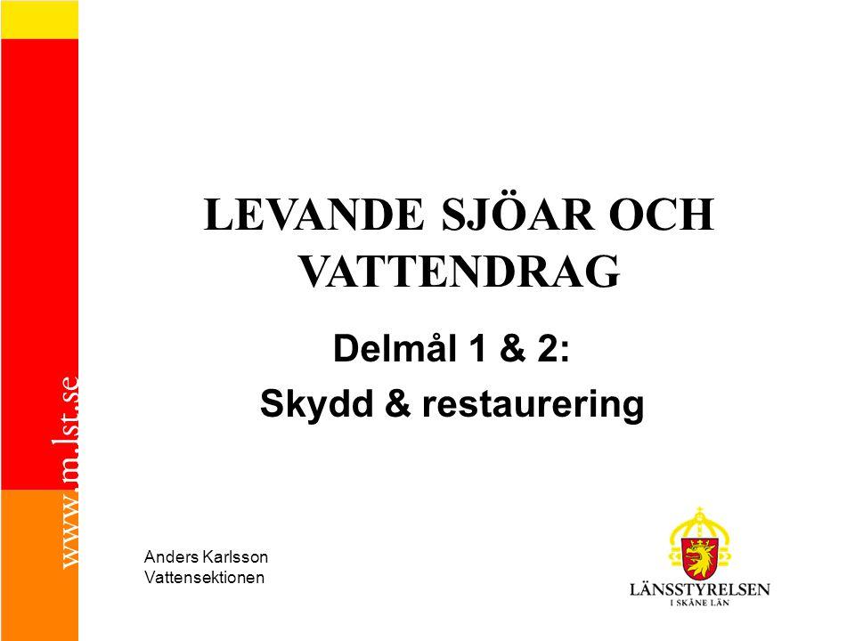 LEVANDE SJÖAR OCH VATTENDRAG Delmål 1 & 2: Skydd & restaurering Anders Karlsson Vattensektionen
