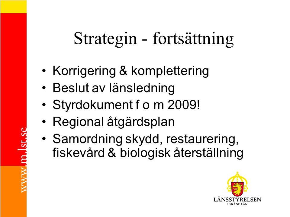 Strategin - fortsättning Korrigering & komplettering Beslut av länsledning Styrdokument f o m 2009! Regional åtgärdsplan Samordning skydd, restaurerin