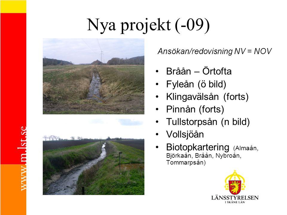 Nya projekt (-09) Bråån – Örtofta Fyleån (ö bild) Klingavälsån (forts) Pinnån (forts) Tullstorpsån (n bild) Vollsjöån Biotopkartering (Almaån, Björkaå
