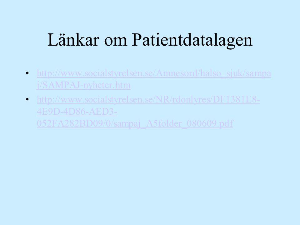 Länkar om Patientdatalagen http://www.socialstyrelsen.se/Amnesord/halso_sjuk/sampa j/SAMPAJ-nyheter.htmhttp://www.socialstyrelsen.se/Amnesord/halso_sj