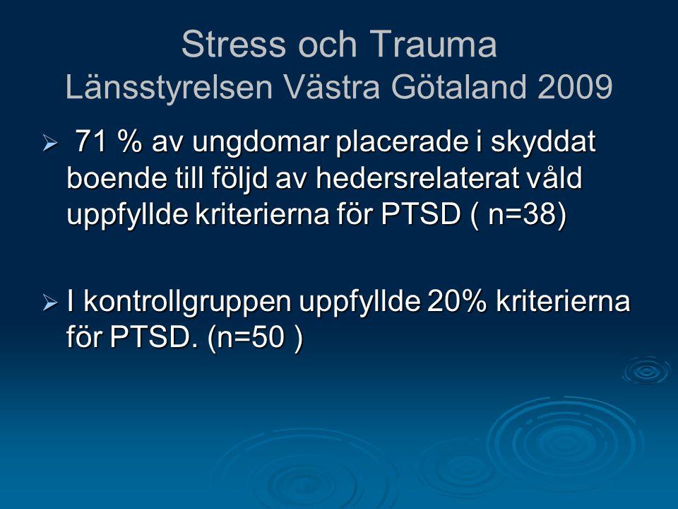 Stress och Trauma Länsstyrelsen Västra Götaland 2009  71 % av ungdomar placerade i skyddat boende till följd av hedersrelaterat våld uppfyllde kriter