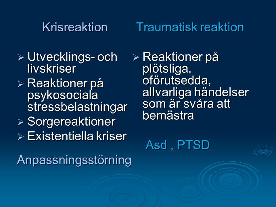 Krisreaktion  Utvecklings- och livskriser  Reaktioner på psykosociala stressbelastningar  Sorgereaktioner  Existentiella kriser Anpassningsstörnin