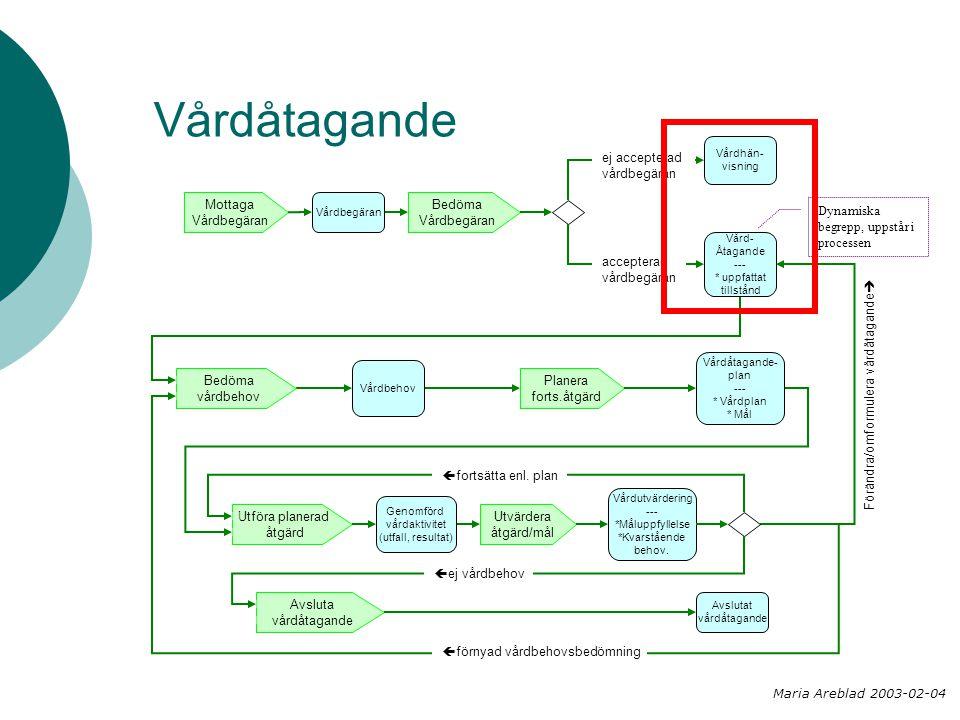 Vårdåtagande Bedöma Vårdbegäran Planera forts.åtgärd Mottaga Vårdbegäran Utföra planerad åtgärd Utvärdera åtgärd/mål Bedöma vårdbehov Vårdhän- visning Vårdbegäran Vård- Åtagande --- * uppfattat tillstånd Vårdbehov Vårdåtagande- plan --- * Vårdplan * Mål Genomförd vårdaktivitet (utfall, resultat) Avslutat vårdåtagande Avsluta vårdåtagande Vårdutvärdering --- *Måluppfyllelse *Kvarstående behov.