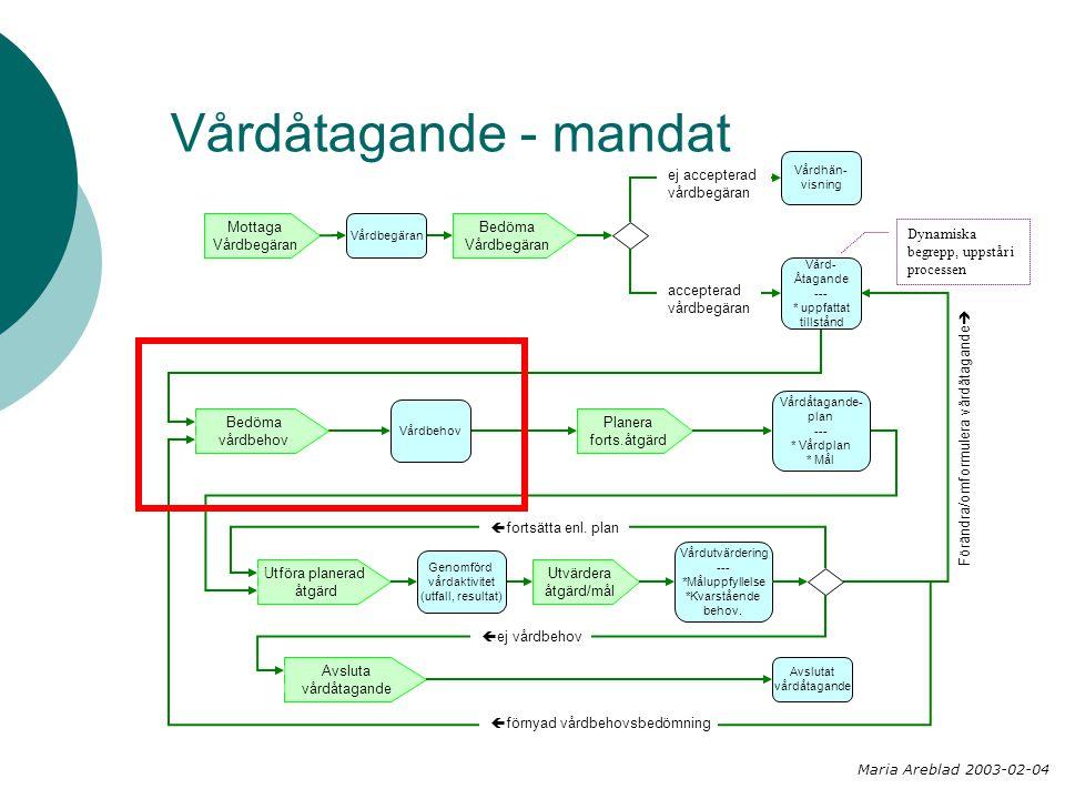 Vårdåtagande - mandat Bedöma Vårdbegäran Planera forts.åtgärd Mottaga Vårdbegäran Utföra planerad åtgärd Utvärdera åtgärd/mål Bedöma vårdbehov Vårdhän- visning Vårdbegäran Vård- Åtagande --- * uppfattat tillstånd Vårdbehov Vårdåtagande- plan --- * Vårdplan * Mål Genomförd vårdaktivitet (utfall, resultat) Avslutat vårdåtagande Avsluta vårdåtagande Vårdutvärdering --- *Måluppfyllelse *Kvarstående behov.
