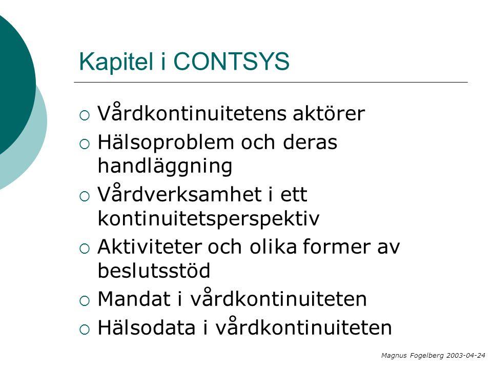 Kapitel i CONTSYS  Vårdkontinuitetens aktörer  Hälsoproblem och deras handläggning  Vårdverksamhet i ett kontinuitetsperspektiv  Aktiviteter och olika former av beslutsstöd  Mandat i vårdkontinuiteten  Hälsodata i vårdkontinuiteten Magnus Fogelberg 2003-04-24