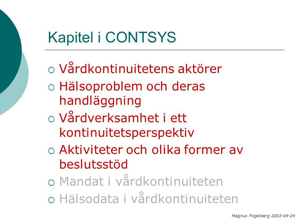 Kapitel i CONTSYS Magnus Fogelberg 2003-04-24  Vårdkontinuitetens aktörer  Hälsoproblem och deras handläggning  Vårdverksamhet i ett kontinuitetsperspektiv  Aktiviteter och olika former av beslutsstöd  Mandat i vårdkontinuiteten  Hälsodata i vårdkontinuiteten