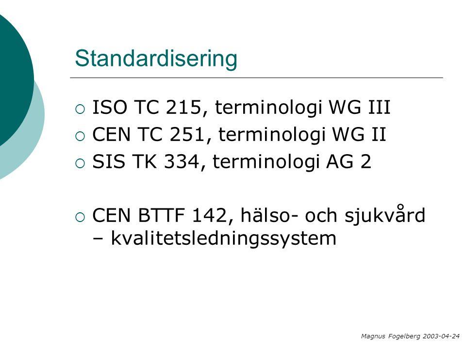 Standardisering  ISO TC 215, terminologi WG III  CEN TC 251, terminologi WG II  SIS TK 334, terminologi AG 2  CEN BTTF 142, hälso- och sjukvård – kvalitetsledningssystem Magnus Fogelberg 2003-04-24