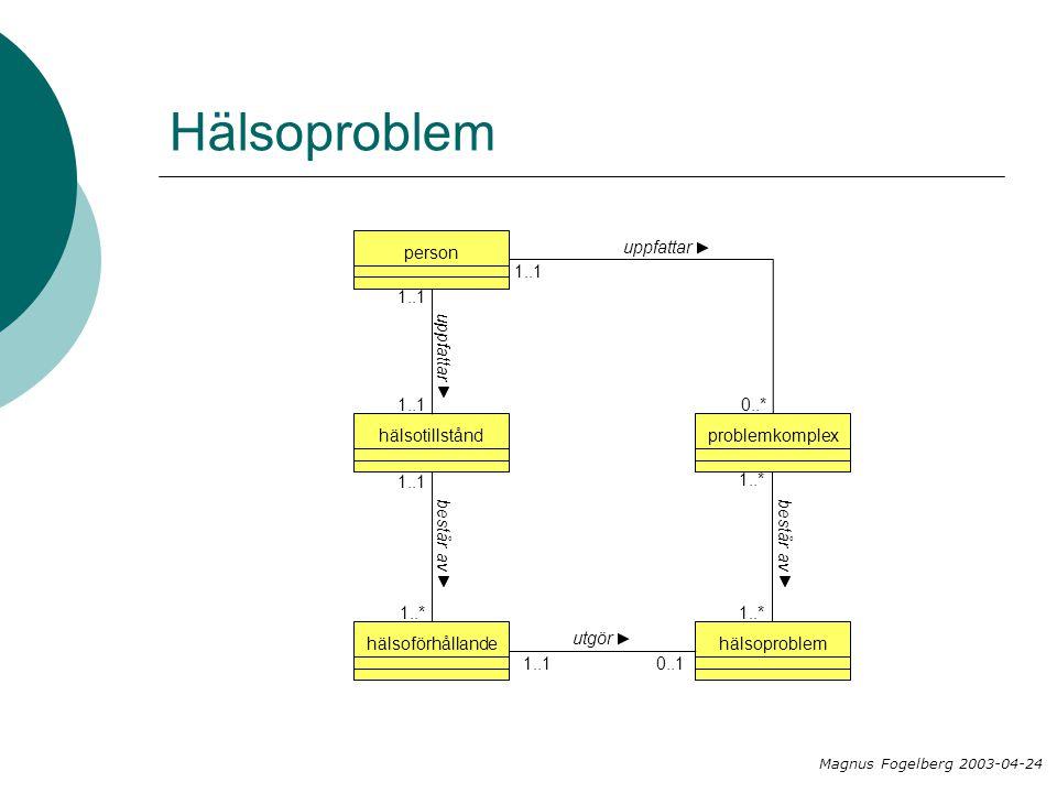 Hälsoproblem problemkomplexhälsoproblem 1..* hälsotillståndhälsoförhållande 1..1 1..* består av utgör 0..11..1 består av person uppfattar 1..1 uppfattar 0..* 1..1 Magnus Fogelberg 2003-04-24