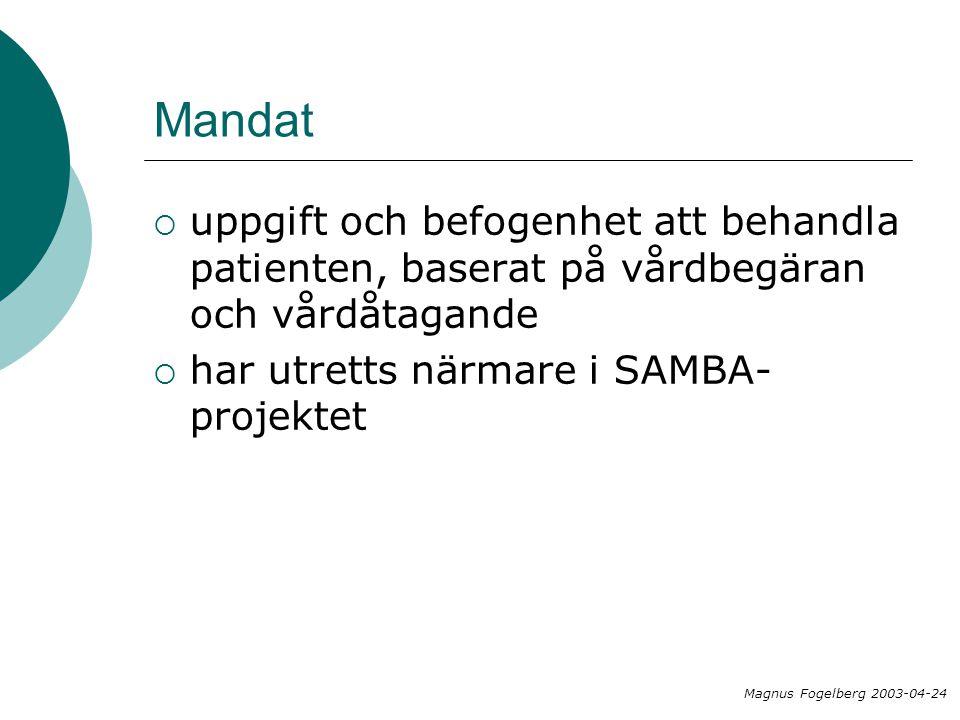 Mandat  uppgift och befogenhet att behandla patienten, baserat på vårdbegäran och vårdåtagande  har utretts närmare i SAMBA- projektet Magnus Fogelberg 2003-04-24