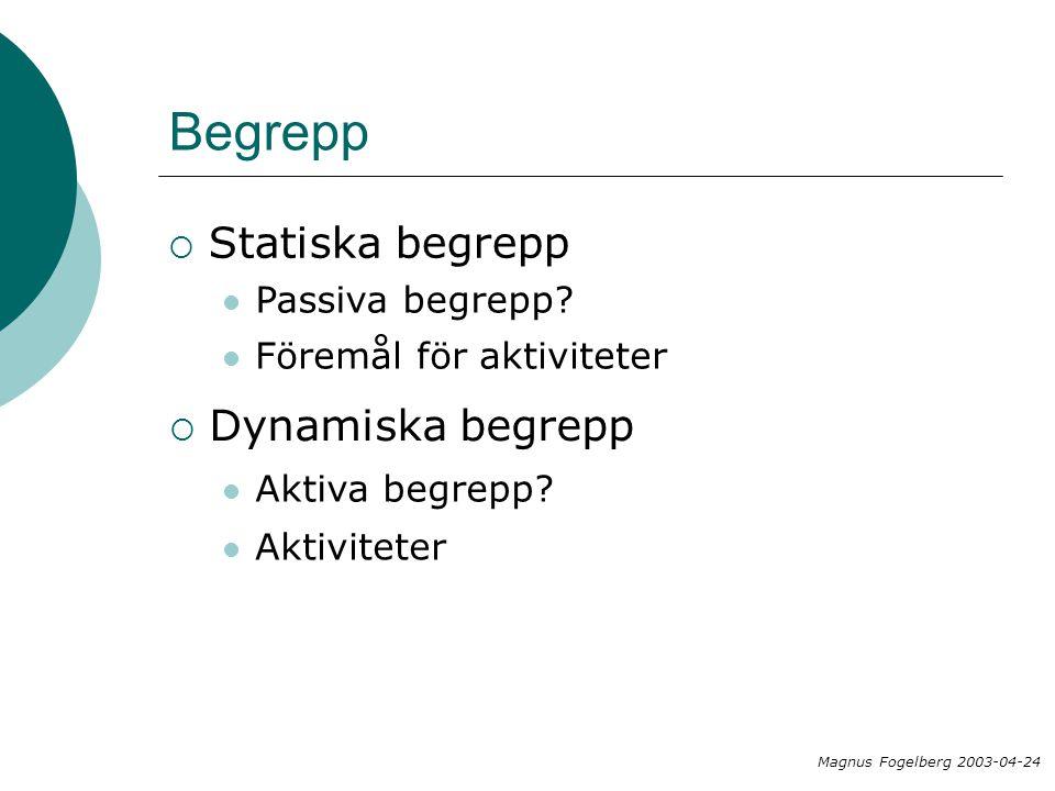 Begrepp  Statiska begrepp  Dynamiska begrepp Passiva begrepp.