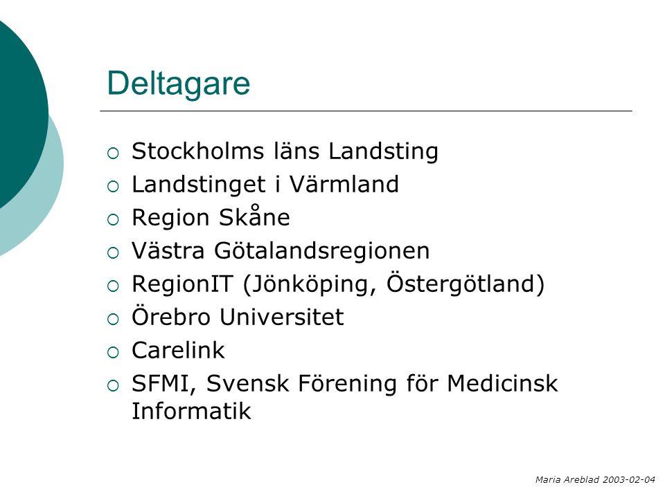 Deltagare  Stockholms läns Landsting  Landstinget i Värmland  Region Skåne  Västra Götalandsregionen  RegionIT (Jönköping, Östergötland)  Örebro Universitet  Carelink  SFMI, Svensk Förening för Medicinsk Informatik Maria Areblad 2003-02-04