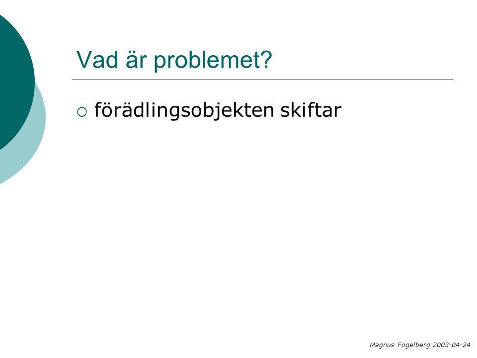 Vad är problemet?  förädlingsobjekten skiftar Magnus Fogelberg 2003-04-24