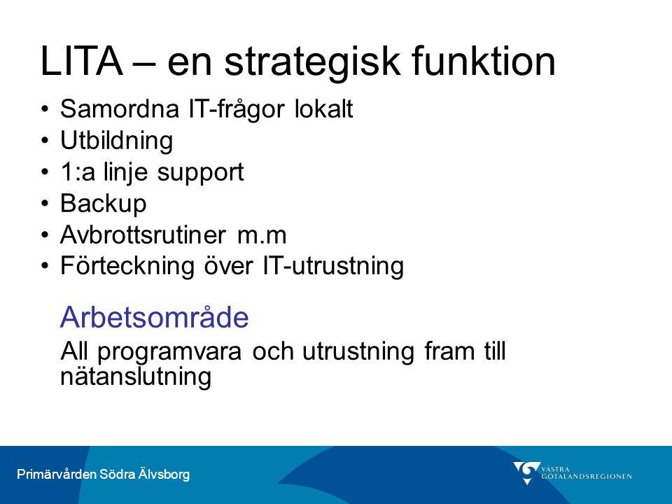 Primärvården Södra Älvsborg LITA – en strategisk funktion Samordna IT-frågor lokalt Utbildning 1:a linje support Backup Avbrottsrutiner m.m Förteckning över IT-utrustning Arbetsområde All programvara och utrustning fram till nätanslutning