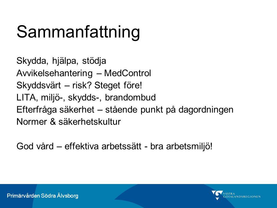 Primärvården Södra Älvsborg Sammanfattning Skydda, hjälpa, stödja Avvikelsehantering – MedControl Skyddsvärt – risk.