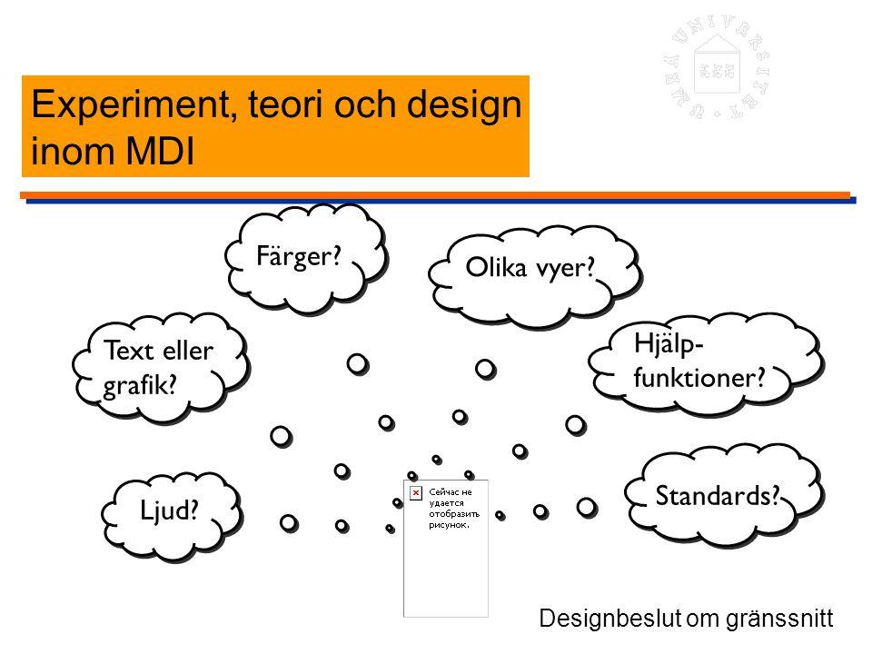 Experiment, teori och design inom MDI Ljud? Text eller grafik? Färger? Olika vyer? Hjälp- funktioner? Standards? Designbeslut om gränssnitt