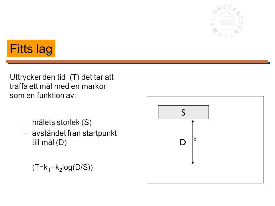 Fitts lag Uttrycker den tid (T) det tar att träffa ett mål med en markör som en funktion av: –målets storlek (S) –avståndet från startpunkt till mål (