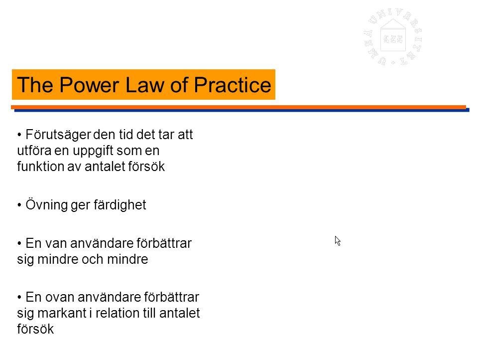 The Power Law of Practice Förutsäger den tid det tar att utföra en uppgift som en funktion av antalet försök Övning ger färdighet En van användare för