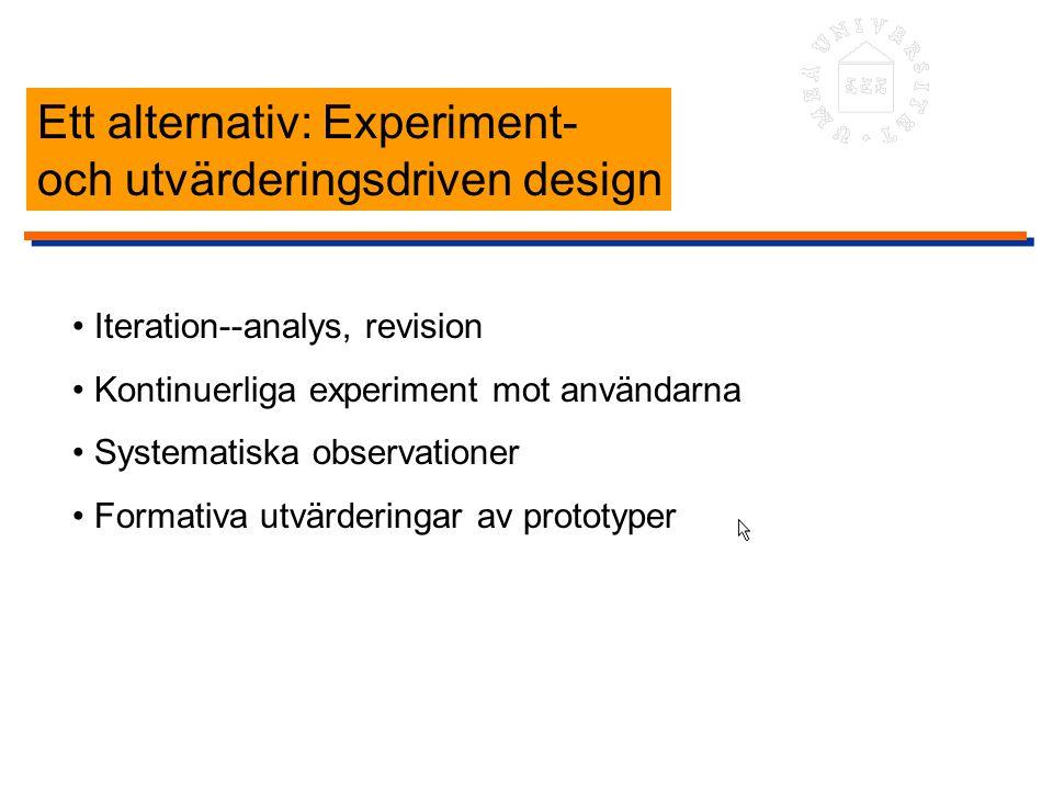 Ett alternativ: Experiment- och utvärderingsdriven design Iteration--analys, revision Kontinuerliga experiment mot användarna Systematiska observation
