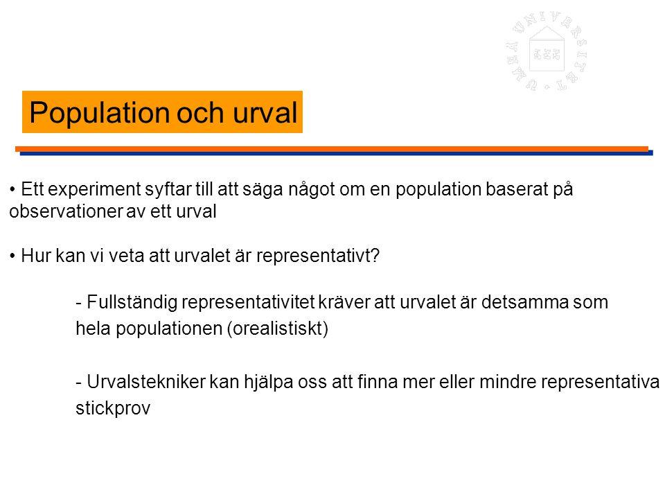 Population och urval Ett experiment syftar till att säga något om en population baserat på observationer av ett urval Hur kan vi veta att urvalet är r