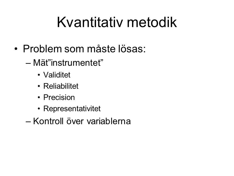 """Kvantitativ metodik Problem som måste lösas: –Mät""""instrumentet"""" Validitet Reliabilitet Precision Representativitet –Kontroll över variablerna"""