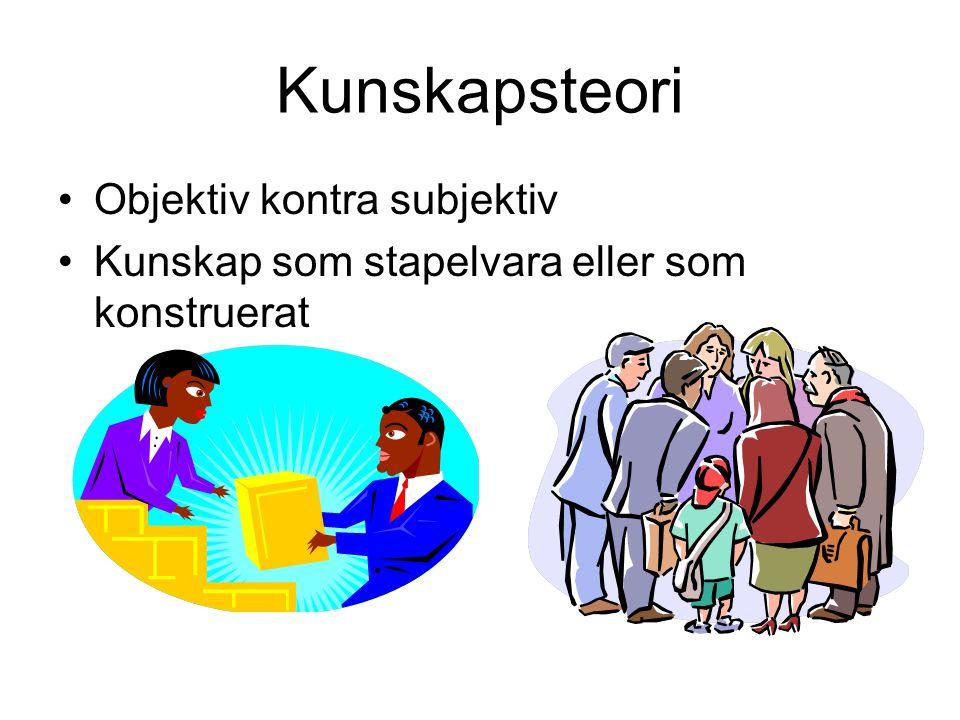 Kunskapsteori Objektiv kontra subjektiv Kunskap som stapelvara eller som konstruerat