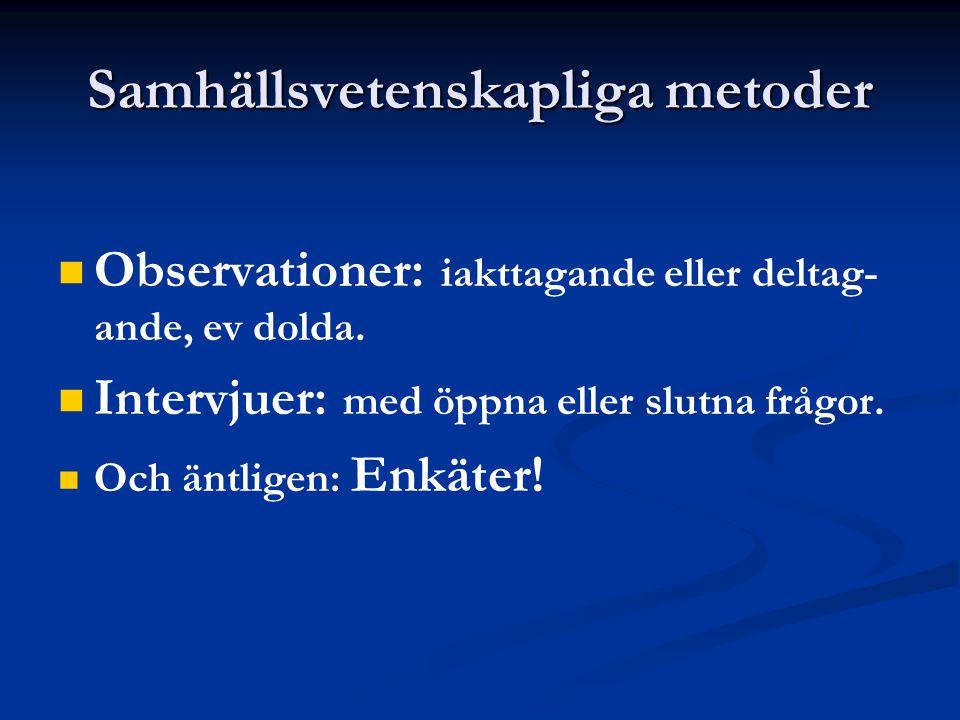 Samhällsvetenskapliga metoder Observationer: iakttagande eller deltag- ande, ev dolda.