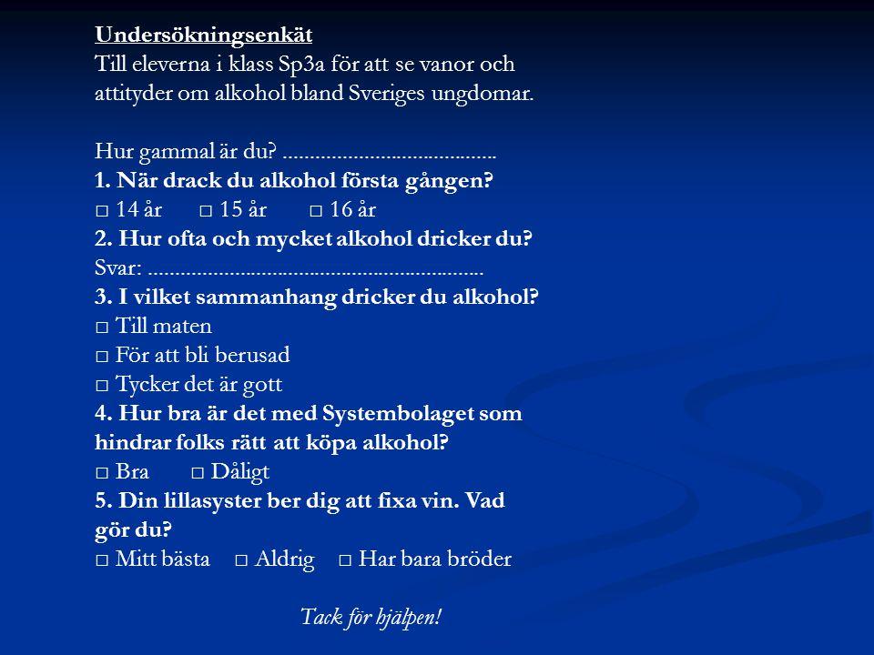 Undersökningsenkät Till eleverna i klass Sp3a för att se vanor och attityder om alkohol bland Sveriges ungdomar.