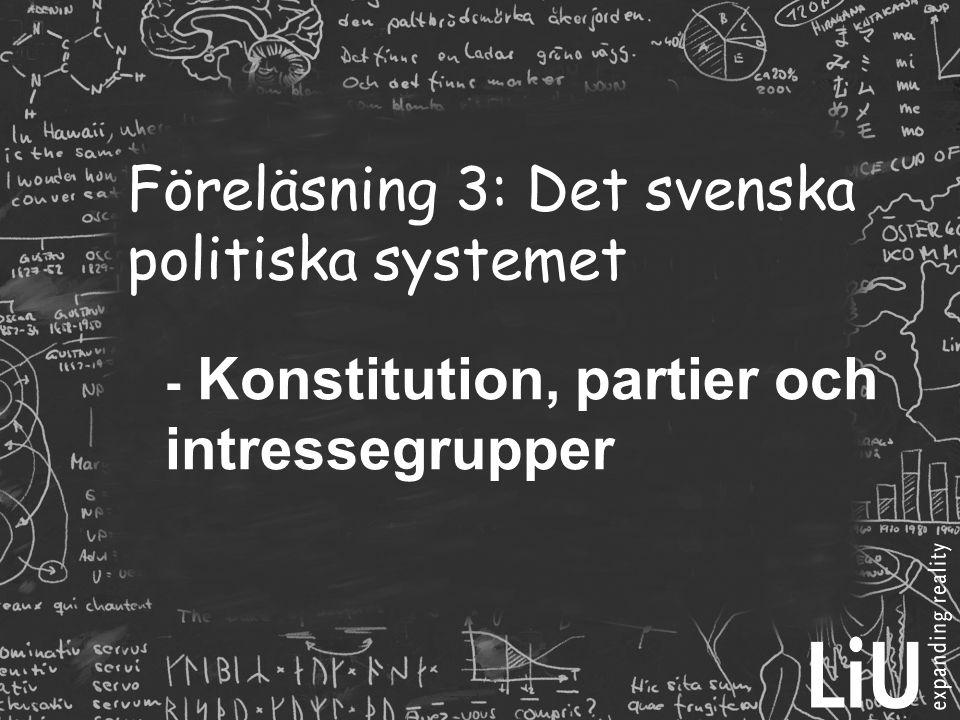 Föreläsning 3: Det svenska politiska systemet - Konstitution, partier och intressegrupper