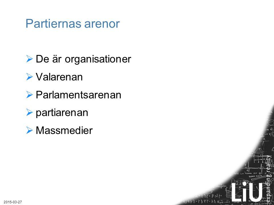 Partiernas arenor  De är organisationer  Valarenan  Parlamentsarenan  partiarenan  Massmedier 2015-03-27