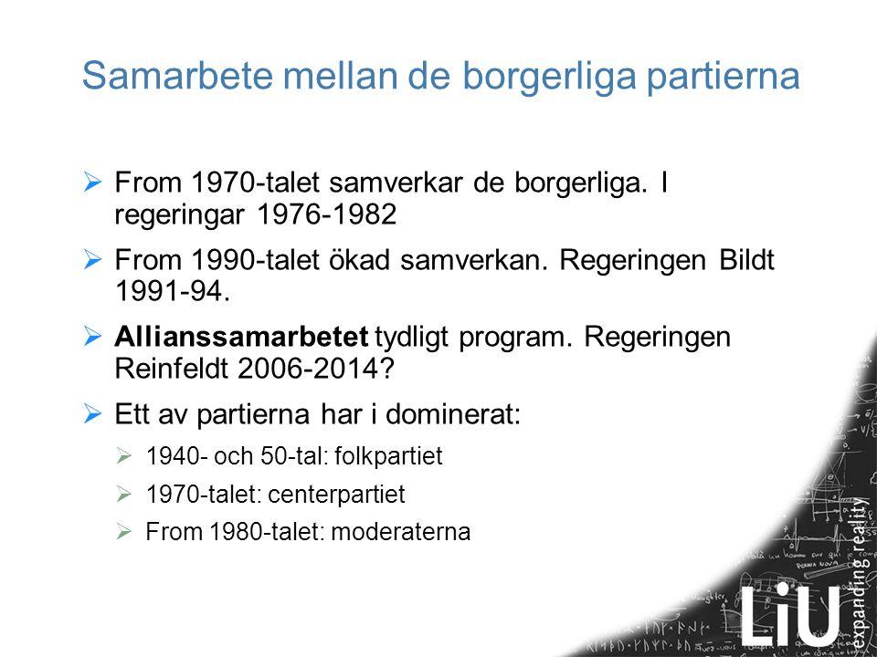 Samarbete mellan de borgerliga partierna  From 1970-talet samverkar de borgerliga.