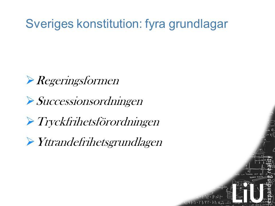 Sveriges konstitution: fyra grundlagar  Regeringsformen  Successionsordningen  Tryckfrihetsförordningen  Yttrandefrihetsgrundlagen