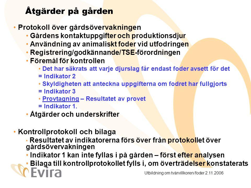 Utbildning om tvärvillkoren/foder 2.11.2006 Åtgärder på gården Protokoll över gårdsövervakningen Gårdens kontaktuppgifter och produktionsdjur Användning av animaliskt foder vid utfodringen Registrering/godkännande/TSE-förordningen Föremål för kontrollen Det har säkrats att varje djurslag får endast foder avsett för det = Indikator 2 Skyldigheten att anteckna uppgifterna om fodret har fullgjorts = Indikator 3 Provtagning – Resultatet av provet = Indikator 1.