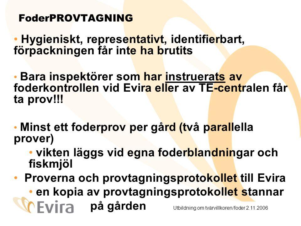 Utbildning om tvärvillkoren/foder 2.11.2006 FoderPROVTAGNING Hygieniskt, representativt, identifierbart, förpackningen får inte ha brutits Bara inspektörer som har instruerats av foderkontrollen vid Evira eller av TE-centralen får ta prov!!.