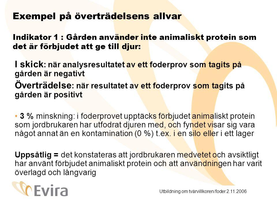 Utbildning om tvärvillkoren/foder 2.11.2006 Exempel på överträdelsens allvar Indikator 1 : Gården använder inte animaliskt protein som det är förbjudet att ge till djur: I skick : när analysresultatet av ett foderprov som tagits på gården är negativt Överträdelse : när resultatet av ett foderprov som tagits på gården är positivt 3 % minskning: i foderprovet upptäcks förbjudet animaliskt protein som jordbrukaren har utfodrat djuren med, och fyndet visar sig vara något annat än en kontamination (0 %) t.ex.