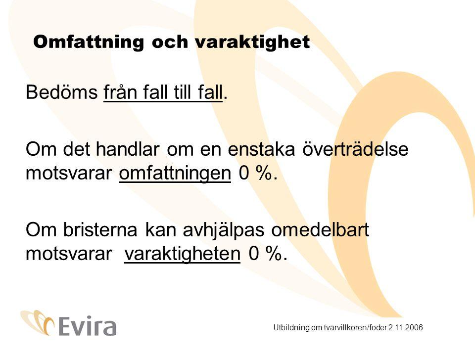 Utbildning om tvärvillkoren/foder 2.11.2006 Omfattning och varaktighet Bedöms från fall till fall.
