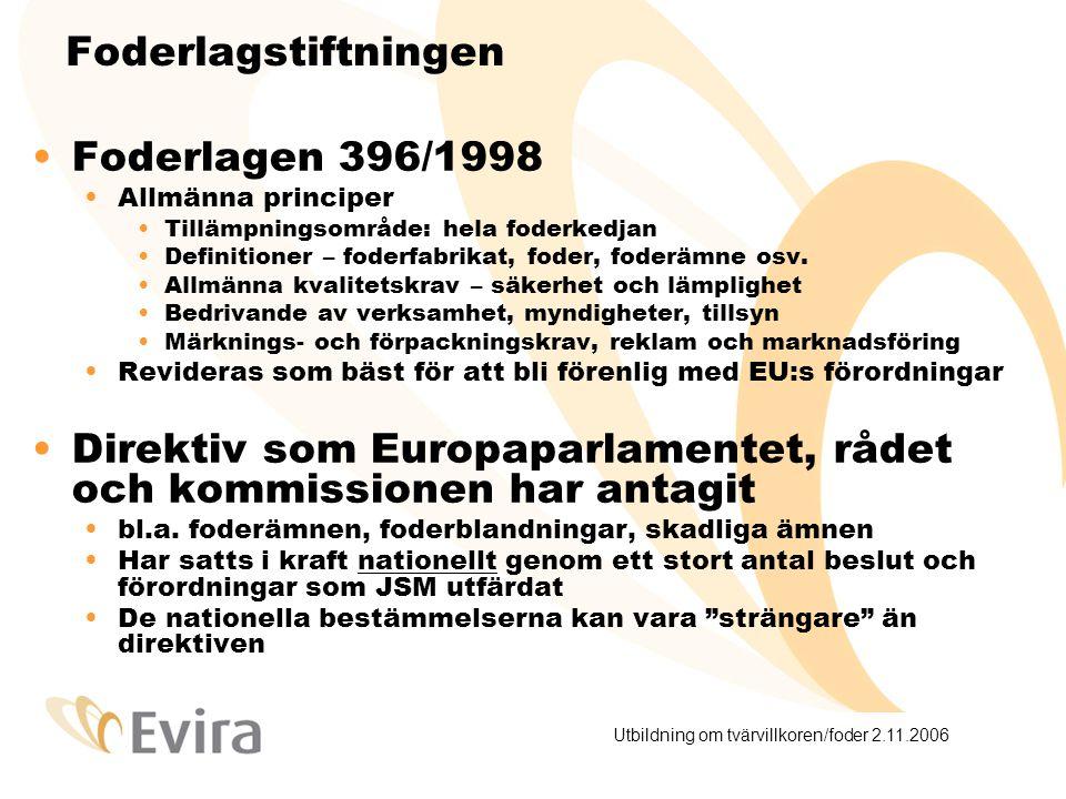 Utbildning om tvärvillkoren/foder 2.11.2006 Foderlagstiftningen – EU- förordningarna är bindande och direkt tillämpliga Allmänna livsmedelsförordningen 178/2002 Bl.a.