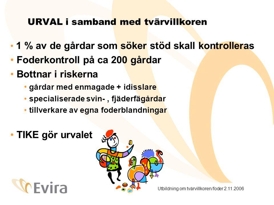 Utbildning om tvärvillkoren/foder 2.11.2006 Schema: foderkontrollen i ansl.
