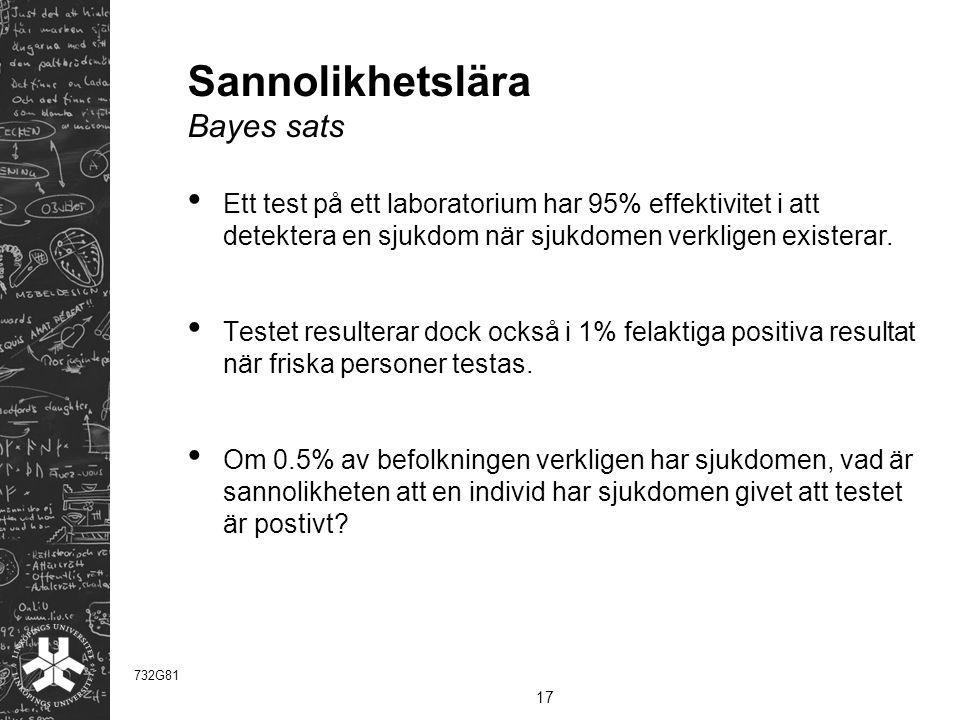 Sannolikhetslära Bayes sats Ett test på ett laboratorium har 95% effektivitet i att detektera en sjukdom när sjukdomen verkligen existerar.