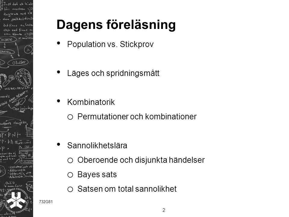 Dagens föreläsning Population vs.