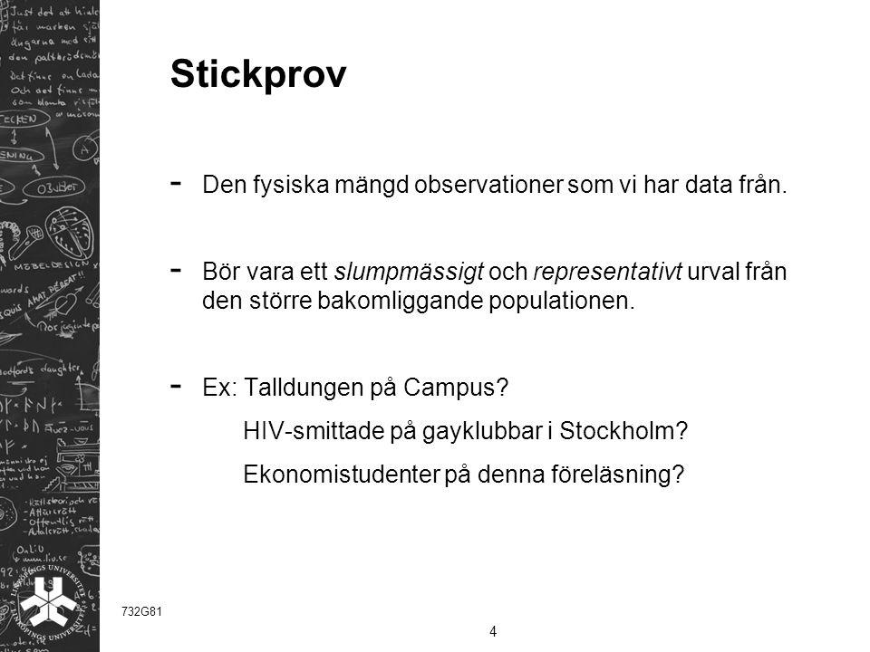Stickprov - Den fysiska mängd observationer som vi har data från.