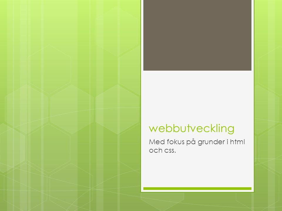webbutveckling Med fokus på grunder i html och css.