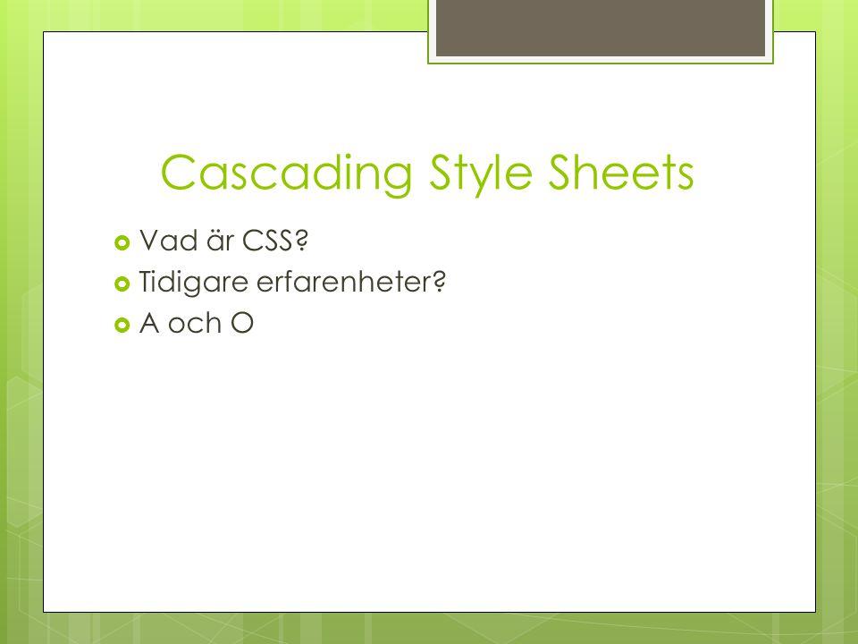 Cascading Style Sheets  Vad är CSS?  Tidigare erfarenheter?  A och O