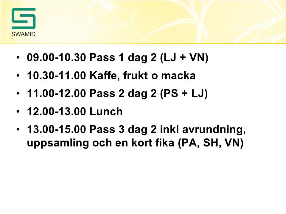 09.00-10.30 Pass 1 dag 2 (LJ + VN) 10.30-11.00 Kaffe, frukt o macka 11.00-12.00 Pass 2 dag 2 (PS + LJ) 12.00-13.00 Lunch 13.00-15.00 Pass 3 dag 2 inkl